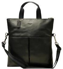 NEW COACH Men's Leather Foldover business Tote Crossbody Messenger Bag Black