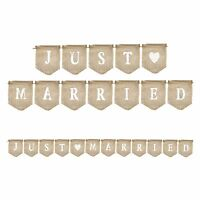 Rustic 'Just Married' Natural Hessian Wedding Celebration Flag Bunting