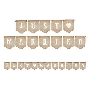 Rustic 'Just Married' Bunting Natural Hessian Wedding Celebration Flag Party