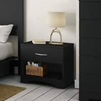 Modern Sleek Bedside Table Concealed Storage Open Shelf Wooden Nightstand Black
