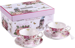 Coffee Tea Cup and Saucer Set 2 Shabby Chic Vintage Flora Porcelain Set Gift Box