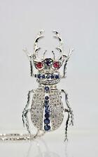 Sapphires Rubies Diamonds Huge Antique Scarab Pendant