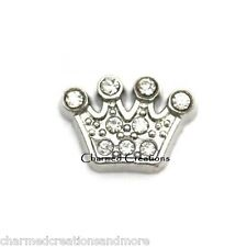 Royal Princess Crown Tiara Clear Floating Charm For Memory Glass Locket Necklace