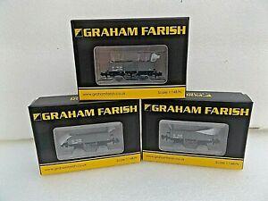 3 FARISH/BACHMANN 377-954A 13T HIGH SIDED OPEN LNER WAGONS GREY  BOXED   N GAUGE