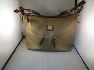 Dooney Bourke Tan Leather With Brown Leather Trim Shoulder Bag Hand Bag
