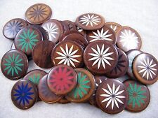 40 Lacquered Wood Disc / Circles W/ Colored Flowers ~ Craft / Jewelry / Pendants