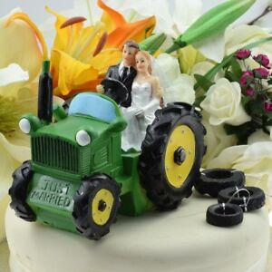 Bride & Groom 'Just Married' Green Tractor Wedding Cake Topper