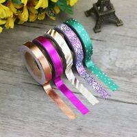 Set of 5 Thin Foil Washi Masking Tape Rolls - Skinny Foil Washi Set FREE UK P&P