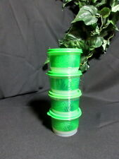 Tupperware NEW Set 4 Green Clear Leaf Design SNACK CUP CUPS Bowls Green Seals