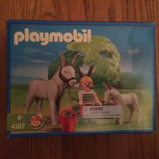 Playmobil 4187 Donkey w/ Foal, Tree & Caregiver New in Sealed Box!