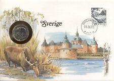 superbe enveloppe SUEDE SWEDEN SVERIGE pièce monnaie 1 KR 1984 NEW NEUF UNC timb