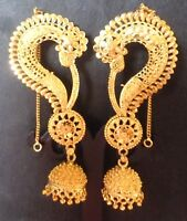22K Gold Plated Indian Full Ear Earrings with Jhumka Gorgeous Bridal Set ab