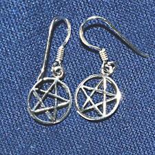 Silver Pentagram Earrings Wicca Witch Pagan Drop Dangly 925 Sterling Pentacle