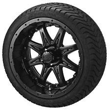 """4 Golf Cart 205/50-10 Tire on 10"""" Matte Black Revenge Wheel W/Black Inserts"""