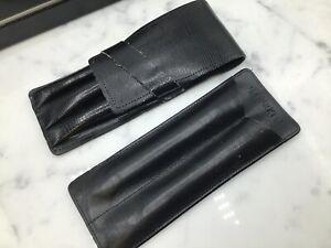 (JLC) Parker Leather Set of 2x Pen Holders Pouches Double & Triple Black