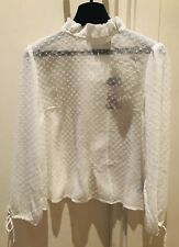 Tommy Jeans Women's Ruffle Dobby Blouse Snow White Size XS