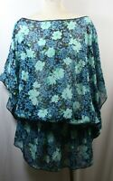 Plus size poncho style top/tunic,elastic at hip,blue/teal green/black,size1X-2X