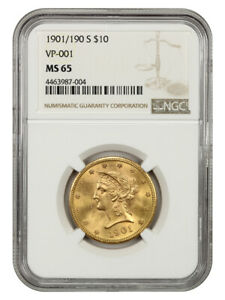 1901-S $10 NGC MS65 - Liberty Eagle - Gold Coin - Tied Finest Overdate