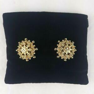 St John Gold Tone Logo Round Circle Clip On Earrings