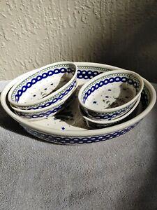 Boleslawiec Polish Pottery Christmas Pine Tree Baking Dish w/ 4 Small Bowls