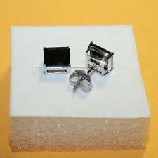 3ct Princess Black Diamond Alternatives Stud Earrings White 14k gold over 925 SS