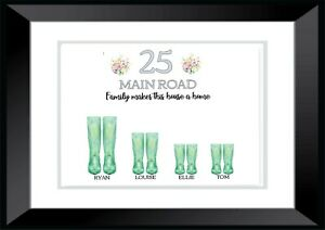 A4 Personalised -FAMILY-Hallway HOME ADDRESS Welly Boots- Wall Art PRINT ONLY