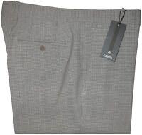 $425 NEW ZANELLA CURTIS GRAY TONE CHECK SUPER 130'S WOOL SLIM FIT DRESS PANTS 34