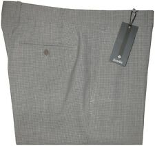 $425 NEW ZANELLA CURTIS GRAY TONE CHECK SUPER 130'S WOOL SLIM FIT DRESS PANTS 34