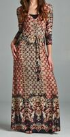 BNWT TUA Womens Size 8, 10, 12  Bohemian Red Faux Wrap Maxi Dress Made In USA