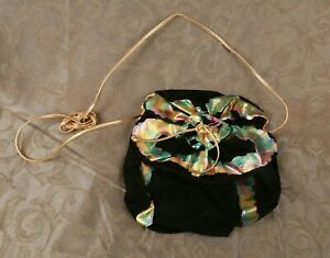 Faux Black Suede ART 90's VTG Ruffled Painted Metallic Womens Rhinestone Purse