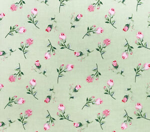 100% Cotton Fabric - Pretty Pink Rose Bud Floral on Green - Craft Material Metre