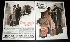 1927 OLD MAGAZINE PRINT AD, BERRY BROTHERS LIQUID GRANITE, ANDREW LOOMIS ART!