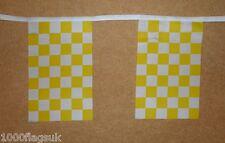 jaune et blanc damier carreaux BRUANT de Drapeau - 6m de long avec 20 DRAPEAUX