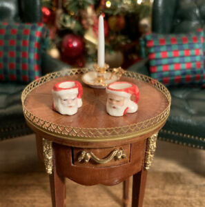 Dollhouse Miniature Artisan Signed Paul McNeely Set Of 2 Santa Toby Mugs