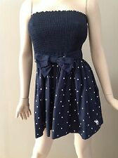 Abercrombie & Fitch Navy Polka Dot Strapless Tube Top Mini Dress Size L
