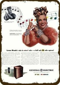 1945 GENERAL ELECTRIC GE Vintage Look DECORATIVE METAL SIGN - CARMEN MIRANDA