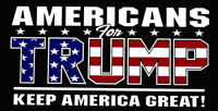 "Americans For Trump Keep American Great! Vinyl Decal Bumper Sticker (3.75""x7.5"")"