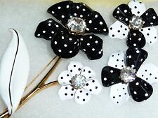"VINTAGE HUGE 4""POLKA DOT FLOWER BROOCH & PIERCED EARRING SET1960'S SIGNED AVON"