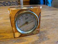 1930 ART DECO PINK ORANGE DEPRESSION GLASS SHEFFIELD CLOCK WINDUP ALARMMINI