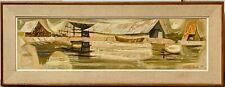 ROBERT WOOD Vintage Mid Century Modernist Fishing Village Seascape Abstract 50s