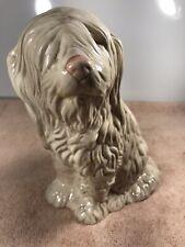 Shaggy Sheep Dog White Ceramic Figurine Statue