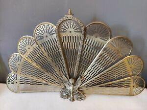 VTG Antique Old Brass Peacock Griffin Phoenix Folding Fan Fire Screen Guard