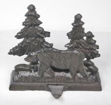 Cast Iron Bear & Trees Christmas Stocking Holder Hanger Rustic Country Style