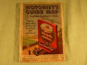 Motorist's Guide Map Of England Scotland & Wales Mitchells & Butlers Beer