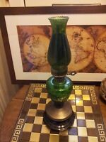 Antique Vintage Original French Green Glass Oil Lamp