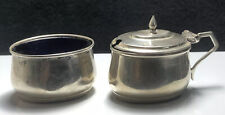 Two Vintage Silver Open Salt / Mustard Pots With Blue Liner