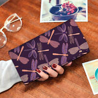 Purple Dragonfly Long Women Multi Pocket Wallet With RFID Protection