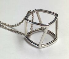 Tiffany & Co Frank Gehry 925 Sterling Silver Torque Cube Drum Frame Necklace