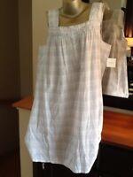 Womens Nightgown Croft & Barrow100% Woven Cotton Blue & Pink Sleeveless Plus 1X