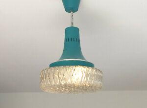 Targetti Sankey Italy Pendant Light Turquoise Glass  Mid Century Designer